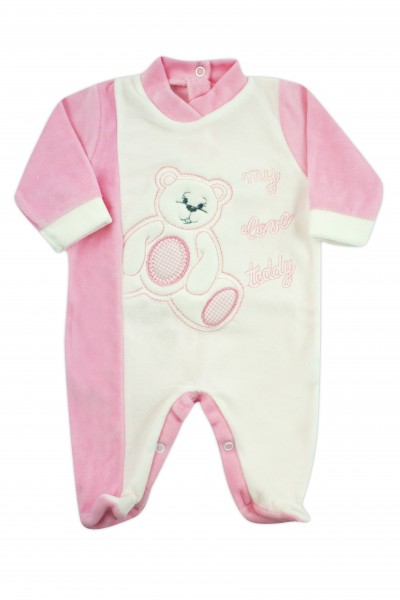 baby footie chenille my love teddy. Colour pink, size 3-6 months