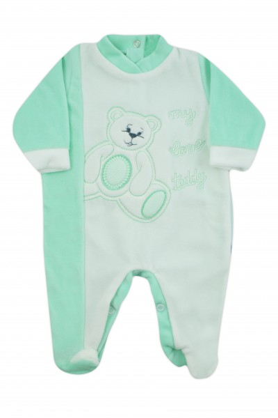 baby footie chenille my love teddy. Colour green, size 3-6 months Green Size 3-6 months