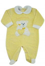 baby footie chenille baby bear tender hearts. Colour yellow, size 3-6 months