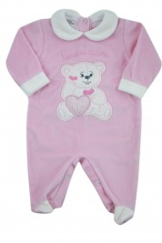 baby footie chenille baby bear tender hearts. Colour pink, size 3-6 months