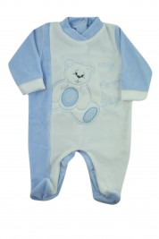 baby footie chenille my love teddy. Colour light blue, size 0-1 month