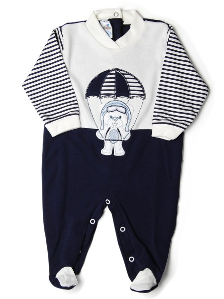 Baby footie baby bear parachutist stripes. Colour blue, size 0-1 month Blue Size 0-1 month