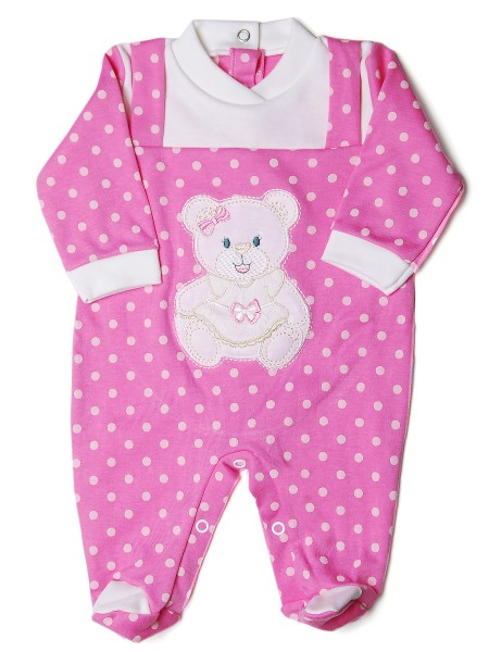 Baby girl footie, with dungarees, chic teddy bear and polka dots. Colour coral pink, size 3-6 months Coral pink Size 3-6 months