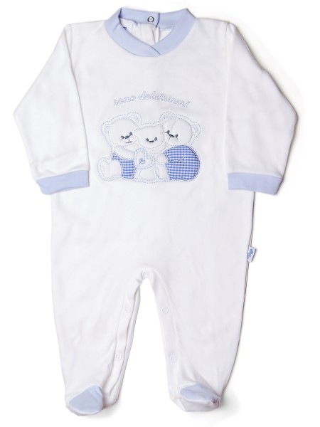 Baby footie in cotton interlock, pattern are sweet, with little family of bears hugging.. Colour light blue, size 3-6 months Light blue Size 3-6 months