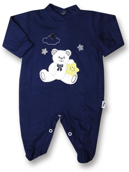 Baby footie 100% cotton, baby bear star. Colour blue, size 0-3 months Blue Size 0-3 months