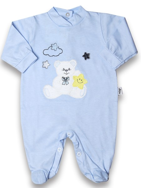 Baby footie 100% cotton, baby bear star. Colour light blue, size 6-9 months Light blue Size 6-9 months