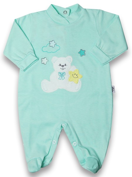 Baby footie 100% cotton, baby bear star. Colour green, size 0-3 months Green Size 0-3 months