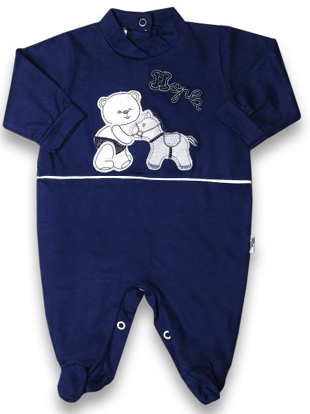 Baby footie cotton pony hopla baby. Colour blue, size 0-3 months Blue Size 0-3 months