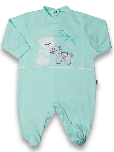 Baby footie cotton pony hopla baby. Colour green, size 0-3 months Green Size 0-3 months