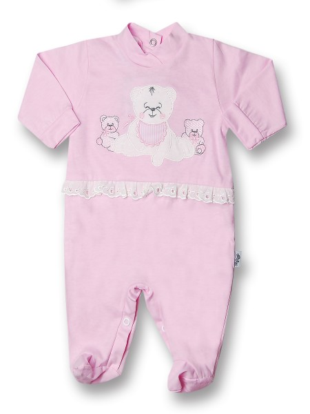 Baby footie cotton teddy bear with lace. Colour pink, size 3-6 months Pink Size 3-6 months