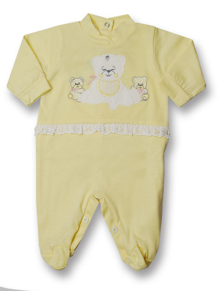 Baby footie cotton teddy bear with lace. Colour yellow, size 3-6 months Yellow Size 3-6 months