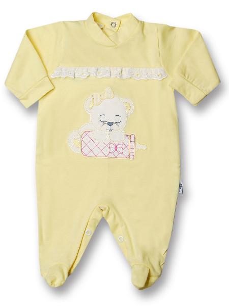 Baby footie cotton teddy bear, baby bottles and lace. Colour yellow, size 6-9 months Yellow Size 6-9 months