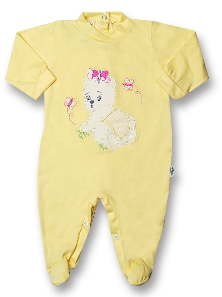 Baby footie 100% cotton teddy bear crawling on baby footie. Colour yellow, size 6-9 months