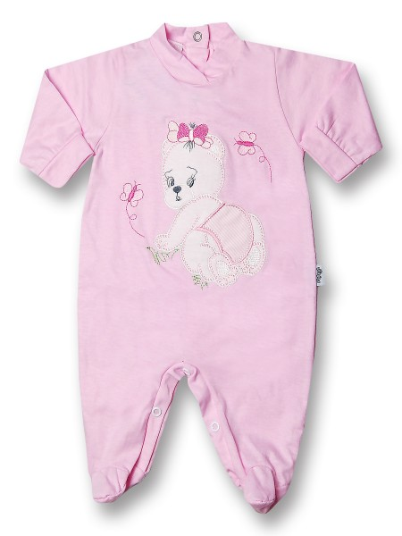 Baby footie 100% cotton teddy bear crawling on baby footie. Colour pink, size 0-3 months Pink Size 0-3 months