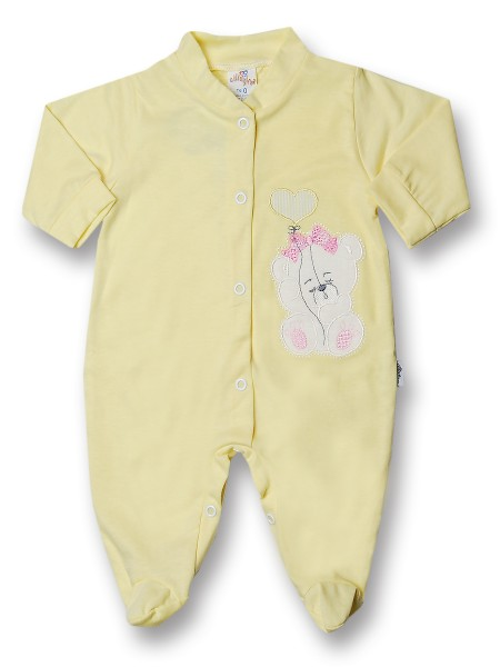 Baby footie teddy bear balloon heart 100% cotton. Colour yellow, size 6-9 months Yellow Size 6-9 months