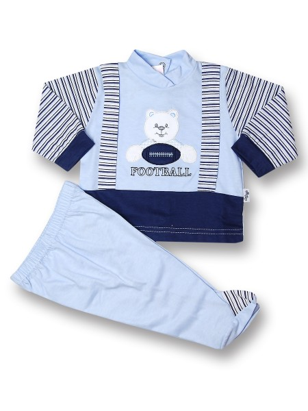 Baby outfit American football 100% cotton. Colour light blue, size 6-9 months Light blue Size 6-9 months