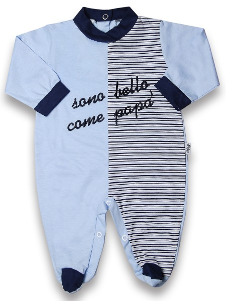 Baby footie 100% cotton are beautiful as striped daddy. Colour light blue, size 0-3 months Light blue Size 0-3 months