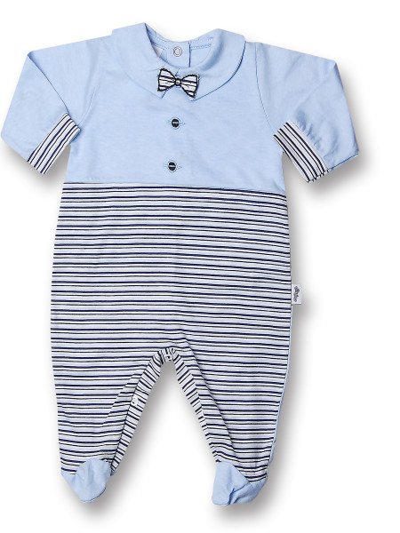 Baby footie 100% cotton, bow tie with buttons. Colour light blue, size 6-9 months Light blue Size 6-9 months