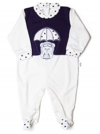 Baby footie baby bear parachutist stripes. Colour creamy white, size 0-1 month