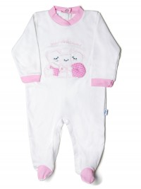 Baby footie in cotton interlock, pattern are sweet, with little family of bears hugging.. Colour pink, size 6-9 months