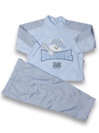 Baby outfit baseball, 100% cotton, with rhombuses. Colour light blue, size 0-3 months