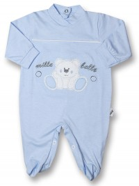 Baby footie thousand bubbles, 100% cotton. Colour light blue, size 0-3 months