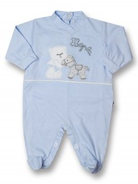 Baby footie cotton pony hopla baby. Colour light blue, size 0-3 months