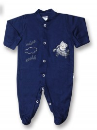 Baby footie 100% cotton aviator fly ooohh. Colour blue, size 0-1 month