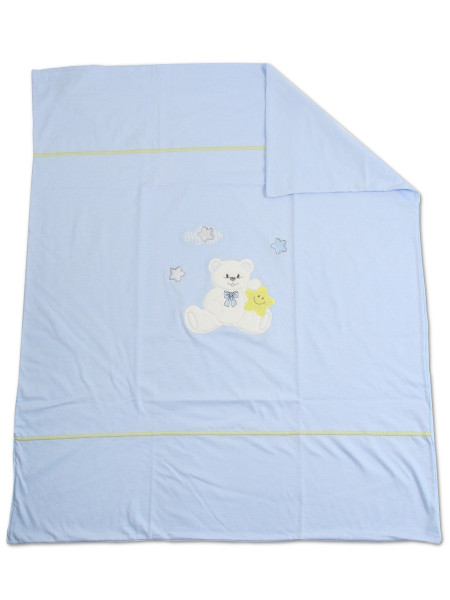 100% cotton baby bear star double face stroller cover. Colour light blue, one size