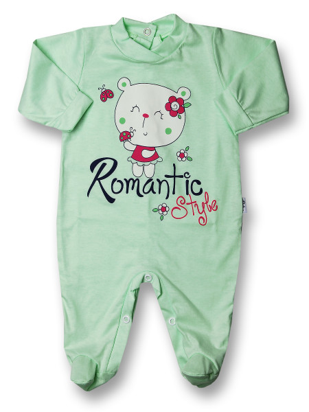 Baby footie romantic style cotton. Colour pistacchio green, size 0-3 months Pistacchio green Size 0-3 months