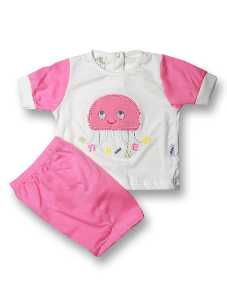 Baby outfit jellyfish marines cotton. Colour coral pink, size 1-3 months Coral pink Size 1-3 months