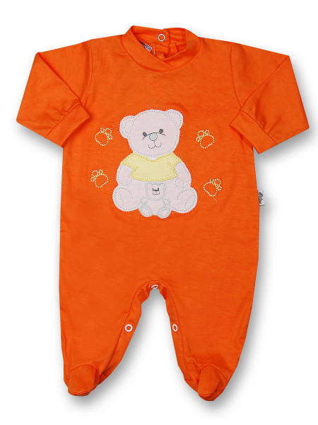 Baby footie mommy and puppy in cotton. Colour orange, size 3-6 months Orange Size 3-6 months