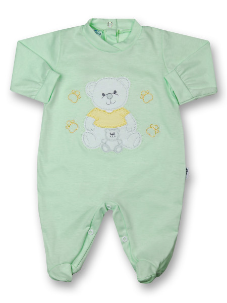 Baby footie mommy and puppy in cotton. Colour pistacchio green, size 3-6 months Pistacchio green Size 3-6 months