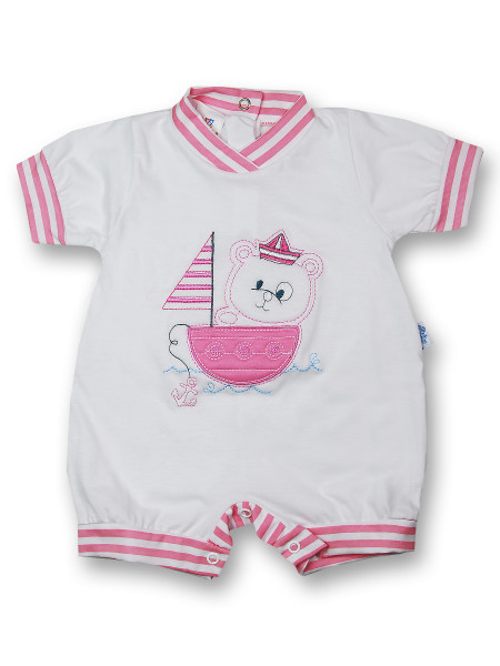 Romper sailboat 100% cotton. Colour coral pink, size 0-1 month