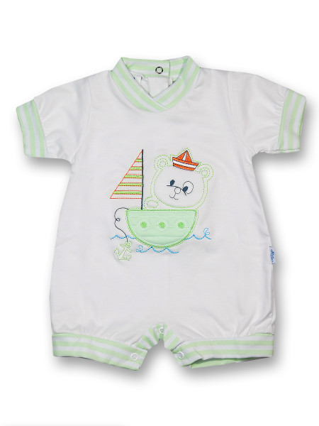 Romper sailboat 100% cotton. Colour pistacchio green, size first days