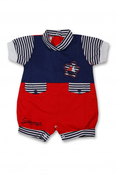 Striped summer cotton Romper. Colour red, size first days Red Size first days