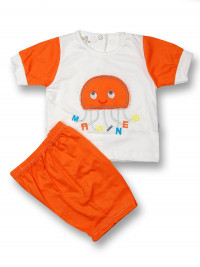 Baby outfit jellyfish marines cotton. Colour orange, size 0-1 month