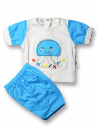 Baby outfit jellyfish marines cotton. Colour turquoise, size 3-6 months