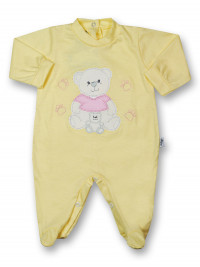 Baby footie mommy and puppy in cotton. Colour yellow, size 9-12 months