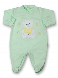 Baby footie mommy and puppy in cotton. Colour pistacchio green, size 3-6 months