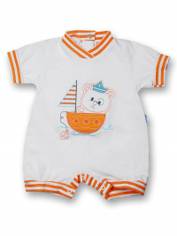 Romper sailboat 100% cotton. Colour orange, size 0-1 month