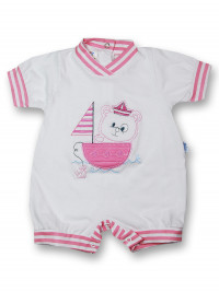 Romper sailboat 100% cotton. Colour coral pink, size first days