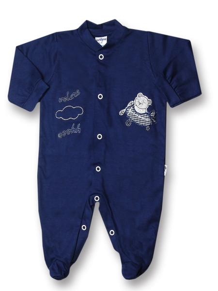 Baby footie 100% cotton aviator fly ooohh. Colour blue, size 3-6 months Blue Size 3-6 months