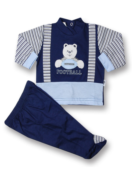Baby outfit American football 100% cotton. Colour blue, size 3-6 months Blue Size 3-6 months
