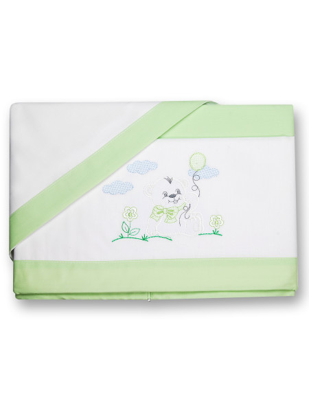 Baby bear sheets and pillowcase on the lawn. Colour pistacchio green, one size Pistacchio green One size