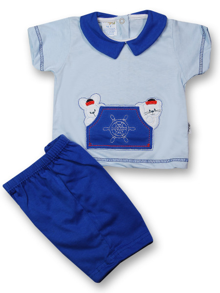 Baby outfit at the helm 100% cotton. Colour light blue, size 0-1 month Light blue Size 0-1 month