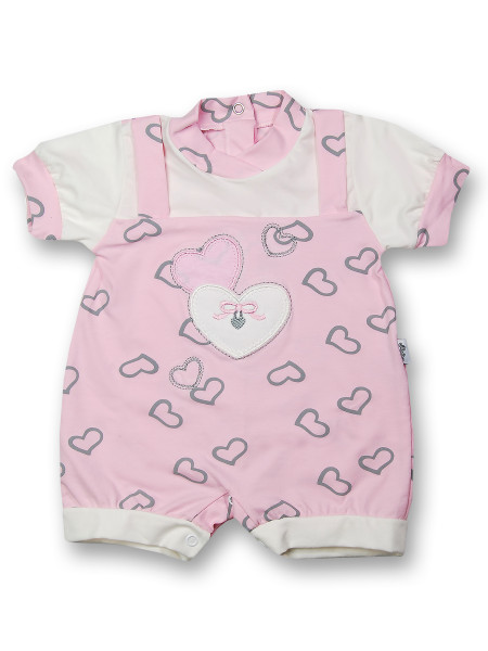 Romper with baby hearts for the summer season. Colour pink, size 0-3 months Pink Size 0-3 months
