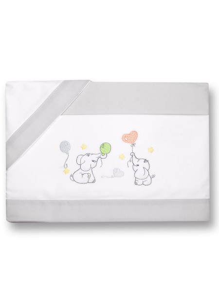 Next2me cradle sheet with elephants, in cotton. Colour grey, one size Grey One size