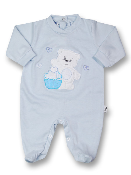Baby footie cotton pastry. Colour light blue, size 6-9 months Light blue Size 6-9 months