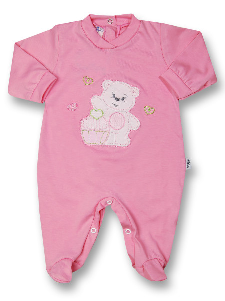Baby footie cotton pastry. Colour fuchsia, size 0-3 months